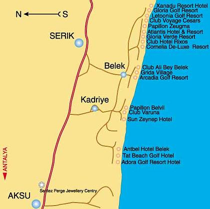 Турция карта Белека карта отелей Белека