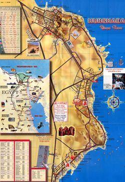Большая карта Хургады в Египте